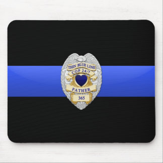 Thin Blue Line Flag & Badge Mouse Pad