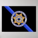 Thin Blue Line Flag & Badge Poster