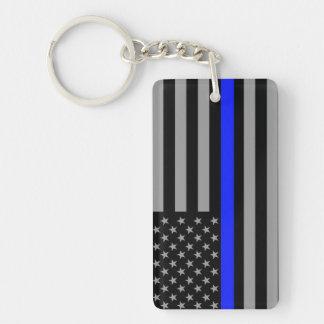 Thin Blue Line Flag Double Sided Keychain
