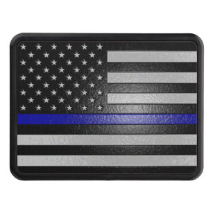 Thin Blue Line Flag Edged Hitch Cover