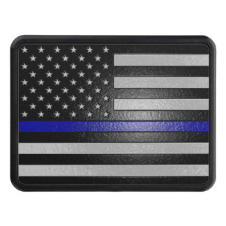 Thin Blue Line Flag Edged Hitch Cover