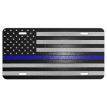 Thin Blue Line Flag Edged License Plate