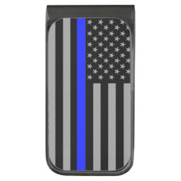 Thin Blue Line Flag Gunmetal Money Clip