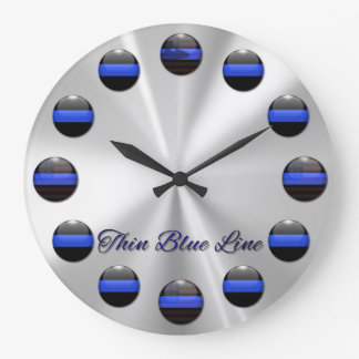 Thin Blue Line Flag Inlay Buttons Wall Clocks