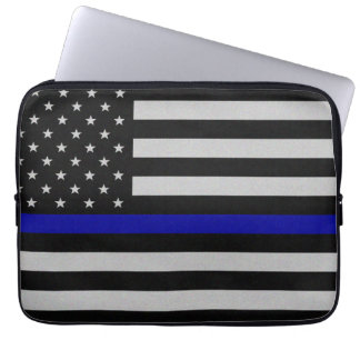 Thin Blue Line Flag Laptop Case