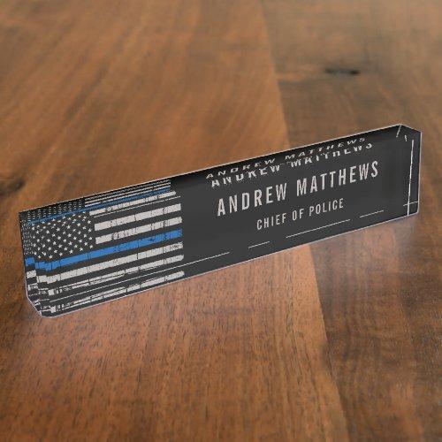 Thin Blue Line Flag Law Enforcement Police Officer Desk Name Plate