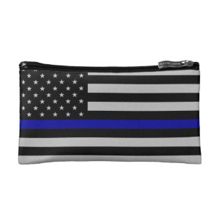 Thin Blue Line Flag Makeup Bag at Zazzle