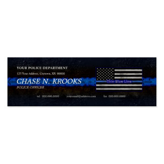 Thin Blue Line Flag Police Officer Double-Sided Mini Business Cards (Pack Of 20)