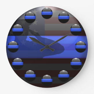Thin Blue Line - Flag Salute Large Clock