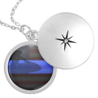 Thin Blue Line - Flag Salute Round Locket Necklace