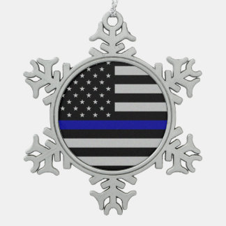 Thin Blue Line Flag Snowflake Ornament