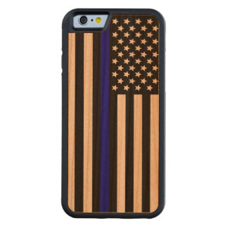 Thin Blue Line.flag USA Carved® Cherry iPhone 6 Bumper