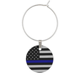 Thin Blue Line Flag Wine Charms
