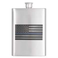 Thin Blue Line Flask at Zazzle