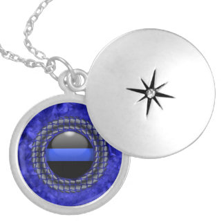 Thin Blue Line Framed Button Silver Plated Necklace