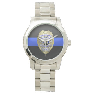 Thin Blue Line Funny Retired Police Badge Wristwatch