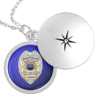 Thin Blue Line Globe & Badge Silver Plated Necklace