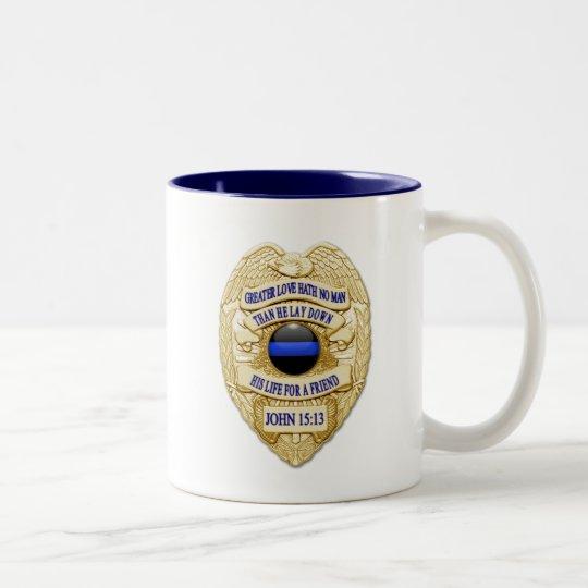 Thin Blue Line Glowing Button & Gold Badge Two-Tone Coffee Mug