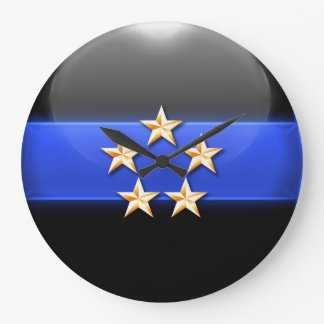 Thin Blue Line - Gold 5-Star Chief Rank Insignia Large Clock