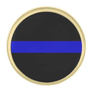 Thin Blue Line Gold Finish Lapel Pin