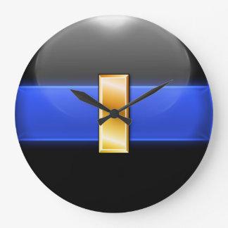 Thin Blue Line - Gold Lieutenant Bar Large Clock