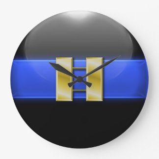 Thin Blue Line - Gold Police Captain Bars Large Clock