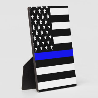 Thin Blue Line Graphic on a US American Flag Plaque
