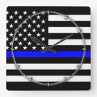 Thin Blue Line Graphic on a US American Flag Square Wall Clock