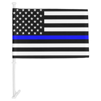 Thin Blue Line Graphic on a US Flag