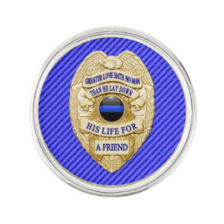 Thin Blue Line - Greater Love Badge Pin