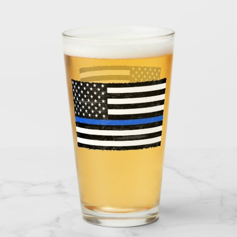 Thin Blue Line Grungy American Flag Glass
