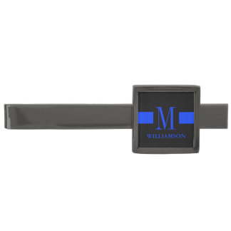 Thin Blue Line Gunmetal Finish Tie Bar