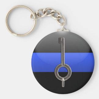 Thin Blue Line Handcuff Key Basic Round Button Keychain