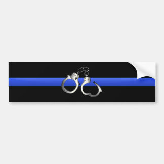 Thin Blue Line & Handcuffs Bumper Sticker