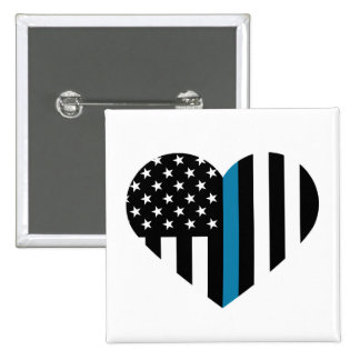 Thin Blue Line Heart Shaped Flag Pinback Button