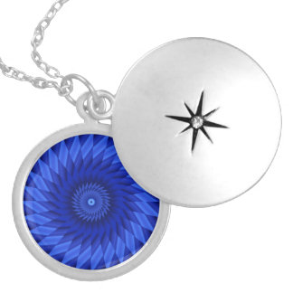Thin Blue Line Kaleidoscope Silver Plated Necklace