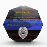"Thin Blue Line - Koenig Custom 20 Yr Award Plaque<br><div class=""desc"">Customize this beautiful gift with your own text to suit the circumstances. This original Police 20 Yr Award Plaque badge artwork was designed specifically for law enforcement officers. It makes a wonderful gift for all of the usual gift occasions but also in acknowledgement of personal achievement, recognition, promotion or retirement....</div>"