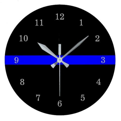 Thin Blue Line Large Clock