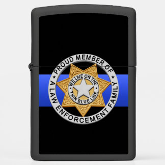 Thin Blue Line Law Enforcement Family Badge Zippo Lighter