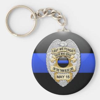 Thin Blue Line & Lest We Forget Badge Basic Round Button Keychain