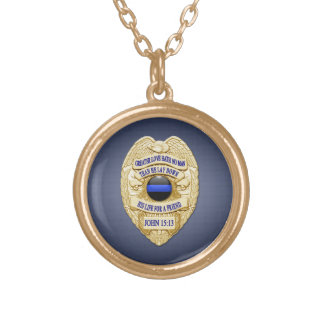 Thin Blue Line & Lest We Forget Badge Gold Plated Necklace