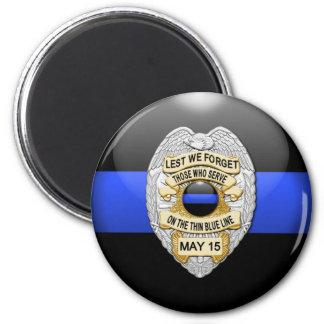 Thin Blue Line & Lest We Forget Badge Magnet