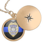 Thin Blue Line & Lest We Forget Badge Personalized Necklace