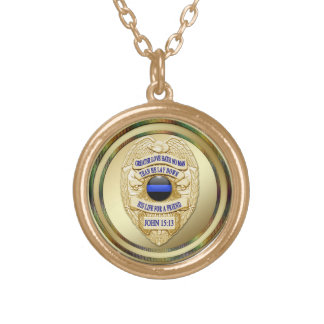 Thin Blue Line & Lest We Forget Badge Round Pendant Necklace