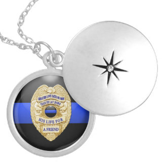 Thin Blue Line & Lest We Forget Badge Round Locket Necklace