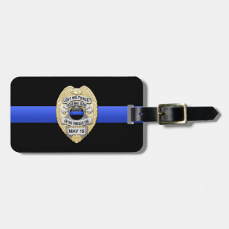 """Thin Blue Line """"Lest We Forget"""" Police Badge Luggage Tags"""
