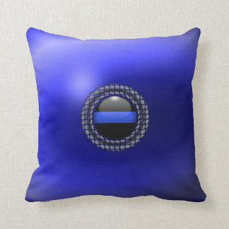 Thin Blue Line Medallion Throw Pillow