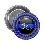 Thin Blue Line Medallion with Handcuffs 2 Inch Round Button