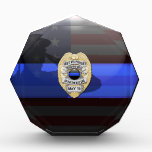 """Thin Blue Line - Memorial Award<br><div class=""""desc"""">Customize this beautiful gift with your own text to suit the circumstances. This design is intended to honor the courageous men and women who protect our communities. This police,  sheriff and law enforcement symbol is beautiful graphic tribute to those who serve and those who have made the ultimate sacrifice.</div>"""