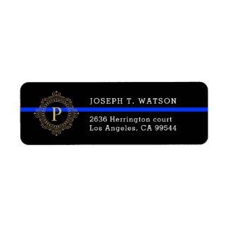 Thin Blue Line Monogram Address Label